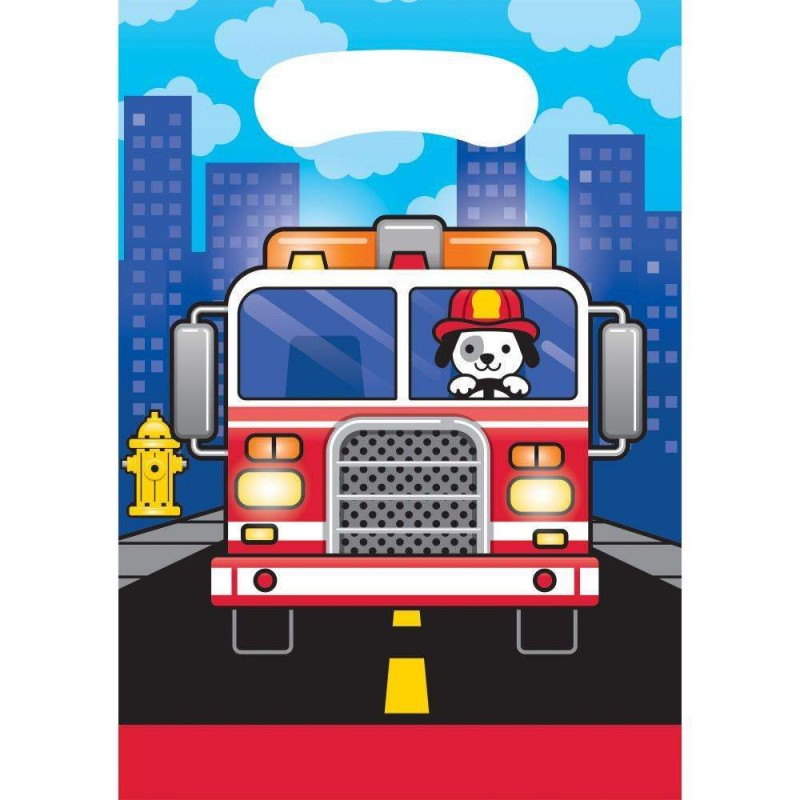 Flaming Fire Truck Loot Bags Pack Of 8