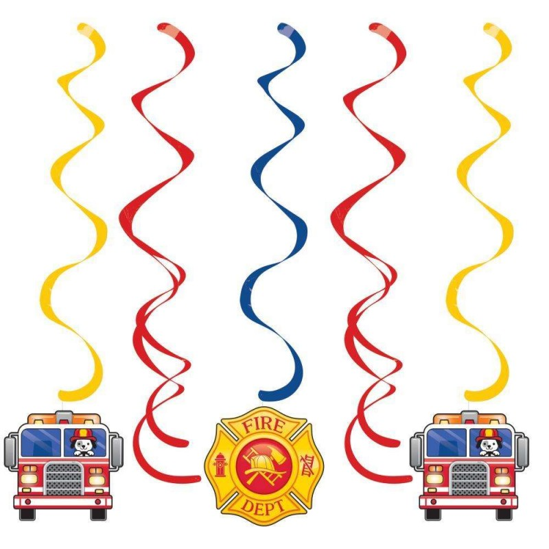 Flaming Fire Truck Hanging Swirl Decorations Pack Of 5