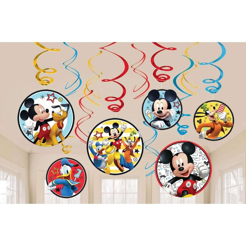 Mickey Mouse Swirl Decorations Pack Of 12