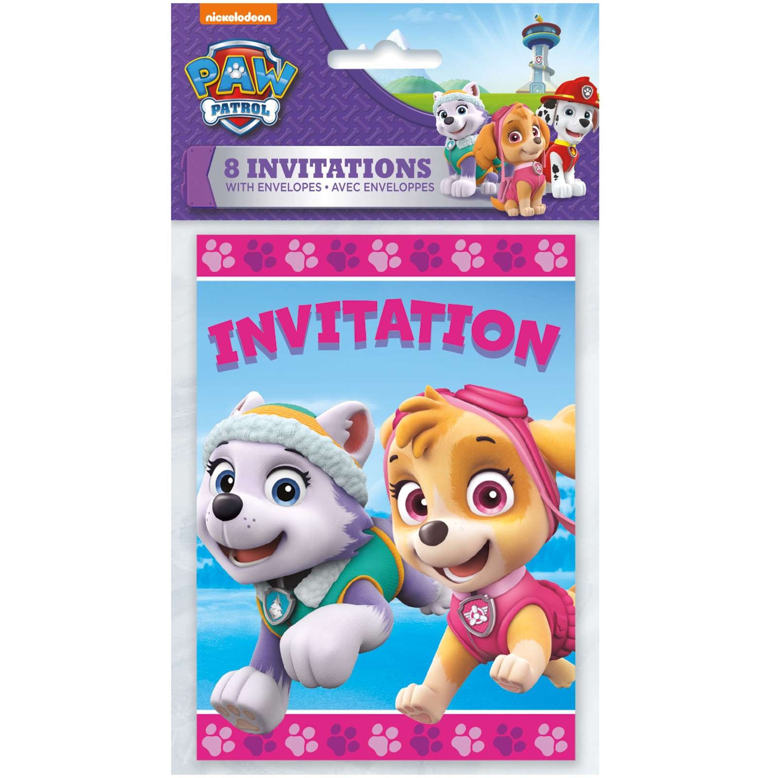 Paw Patrol Girl Party Invitations Pack Of 8