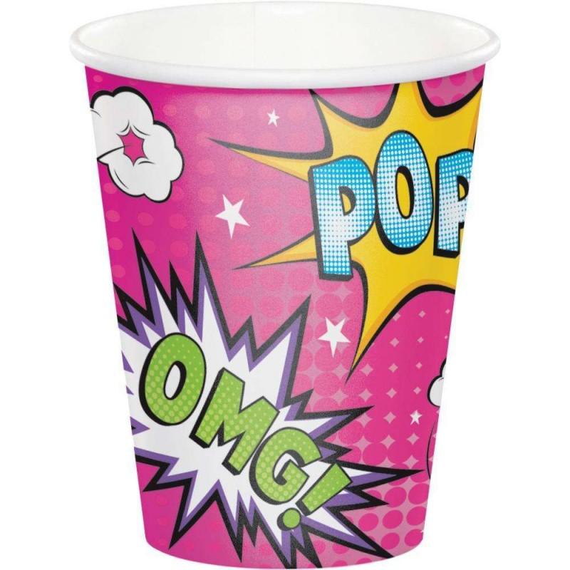 Super Hero Girl Cups Pack Of 8
