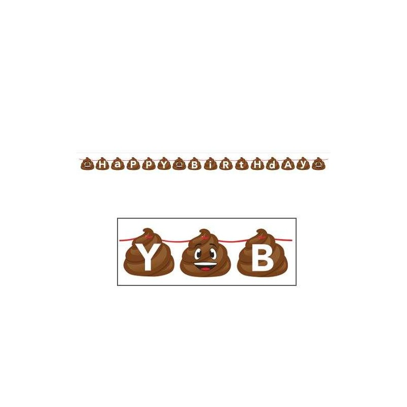Emoji Poop Happy Birthday Banner