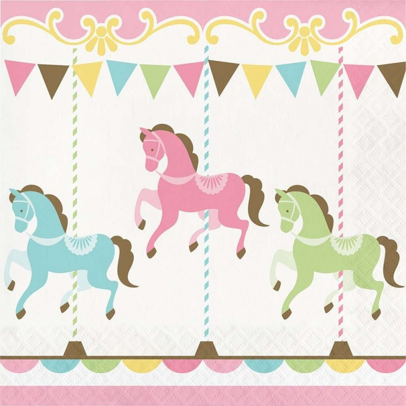 Pink Carousel Horses Large Napkins Pack Of 16 Baby Shower