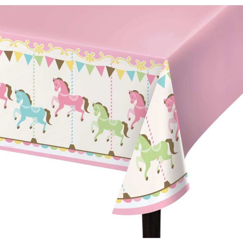 Pink Carousel Horses Plastic Tablecloth Baby Shower Party