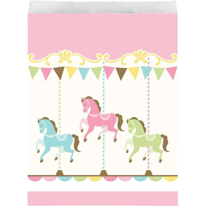 Pink Carousel Horses Party Bags Pack Of 10 Baby Shower Party