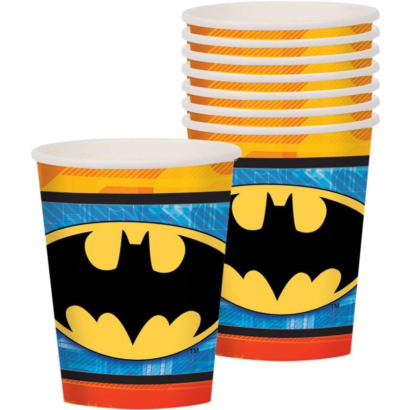 Batman Emblem Paper Cups (Pack of 8) - Batman Party Supplies | Who Wants 2  Party