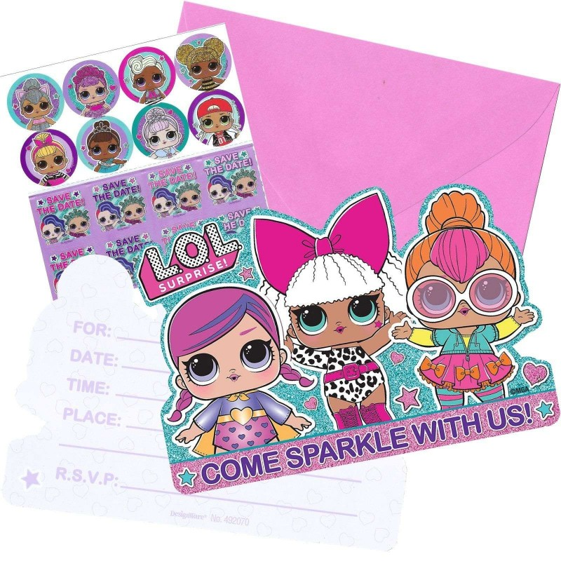 Lol Surprise Party Invitations Set Pack Of 8 Lol Surprise Party Supplies Who Wants 2 Party